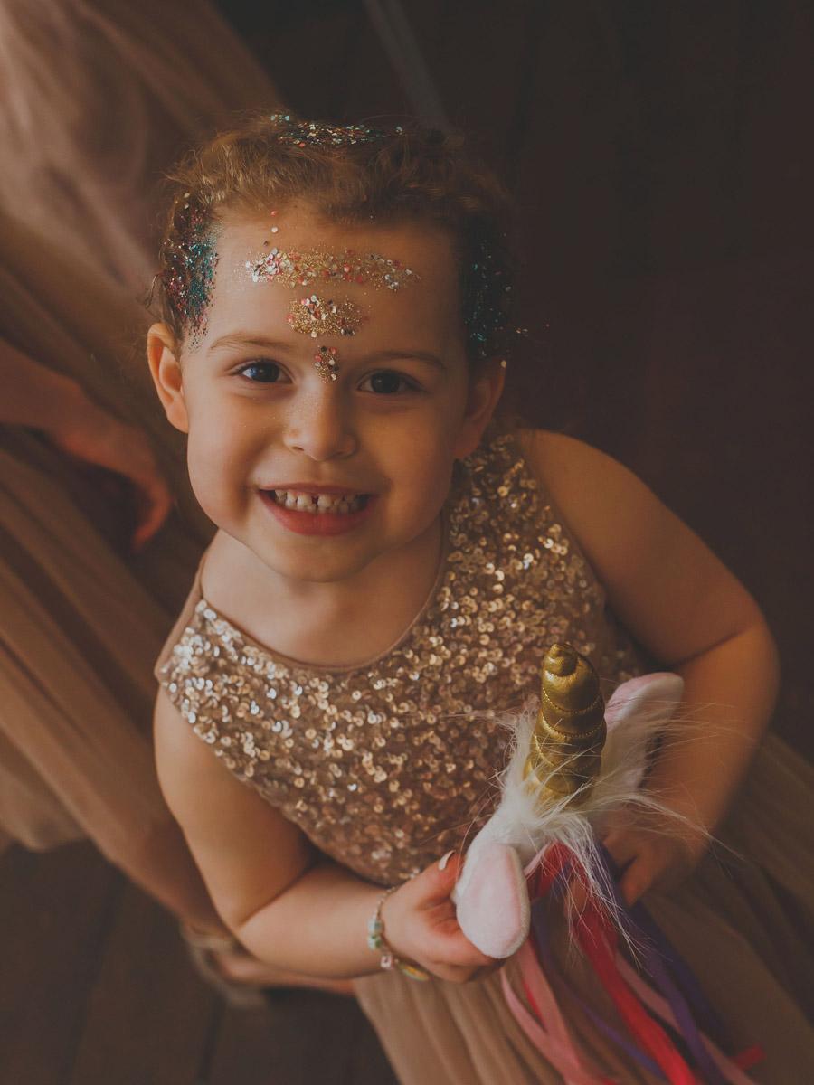 Flower girl glitter bar in Norfolk captured by Eternal Images Photography Ltd
