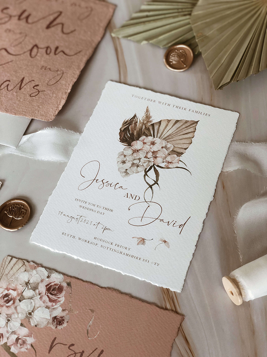 Luxe Palm suite wedding invitation by PS Weddings
