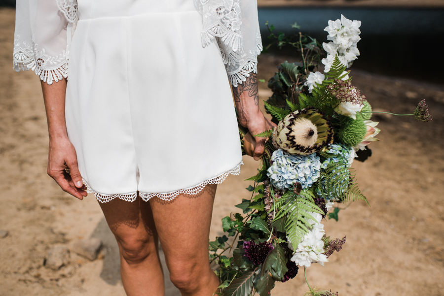 Sail away with me... wedding playsuit and fabulous florals by Fantail, image Fox Moon Photography (8)