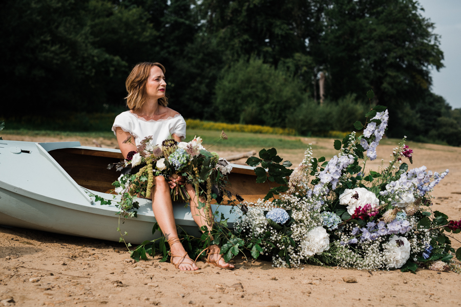 Sail away with me... wedding playsuit and fabulous florals by Fantail, image Fox Moon Photography (10)
