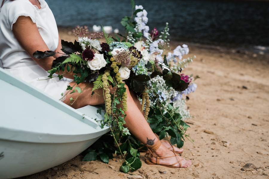 Sail away with me... wedding playsuit and fabulous florals by Fantail, image Fox Moon Photography (12)