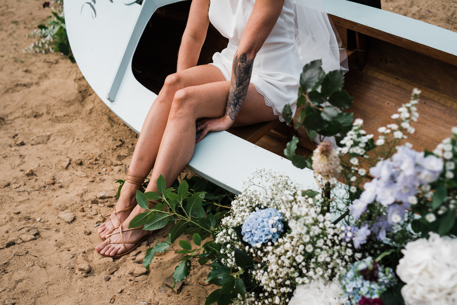 Sail away with me... wedding playsuit and fabulous florals by Fantail, image Fox Moon Photography (15)