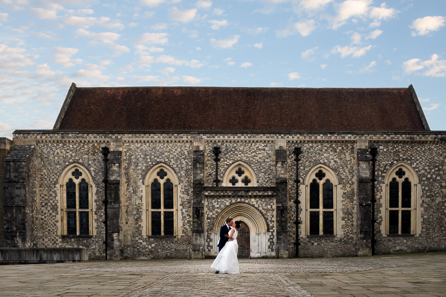 Aisha and Luke outside Winchester Great Hall - Dom Brenton Photography