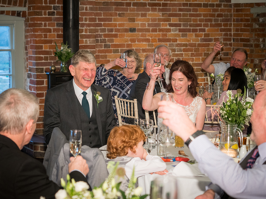 Richard toasted by Tina and their guests at their Sopley Mill wedding – Dom Brenton Photography