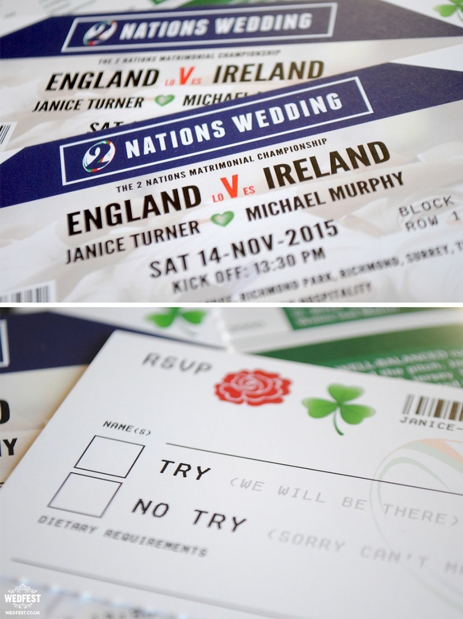 Rugby wedding invitations by Wedfest