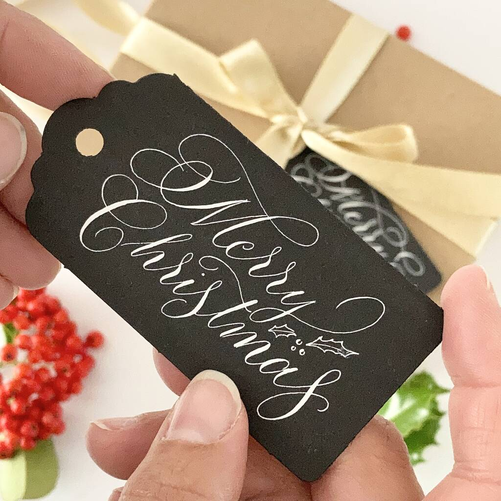 Merry Christmas black gift tags