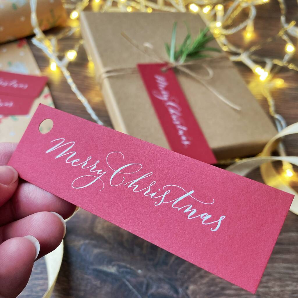 Merry Christmas calligraphy tags