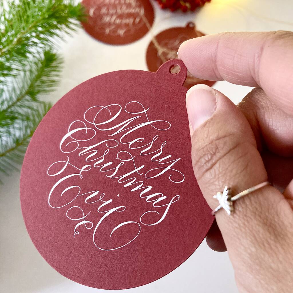 Bauble shaped gift tags personalised