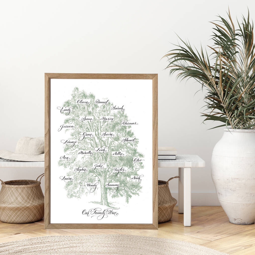 Personalised heirloom vintage family tree print