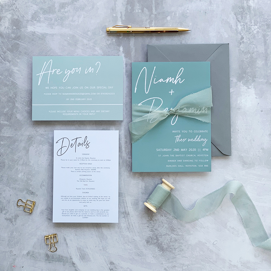 Wedding stationery by Clare Gray Designs