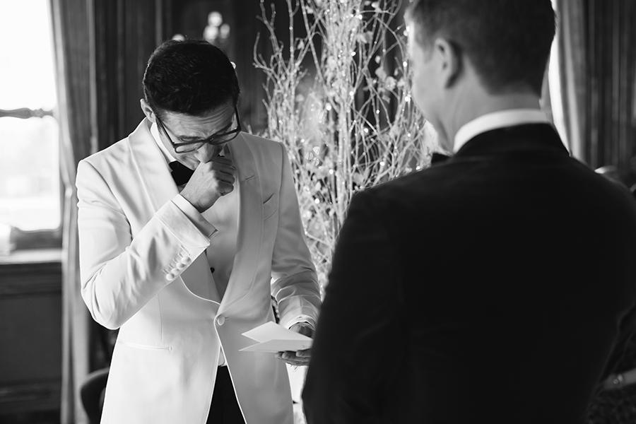 Emotional wedding vows at Cliveden House wedding, captured by Luke Hayden Photography