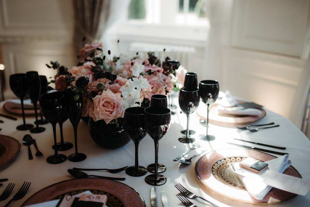 Contemporary Black & Pink wedding styling ideas at Bawtry Hall, image credit Esther Louise Triffitt Photography (5)