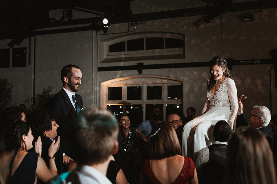 Jewish wedding party at Trinity Buoy Wharf wedding, captured by Luke Hayden Photography