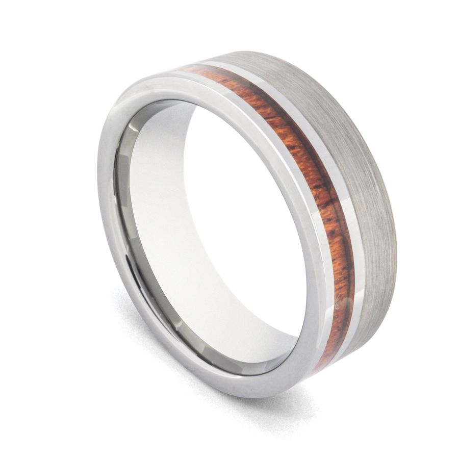 silver tungsten with wood inlay mens wedding ring by Newman Bands