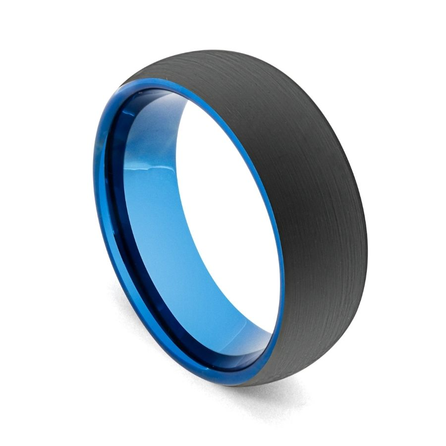 Newman Bands black mens wedding ring with blue interior