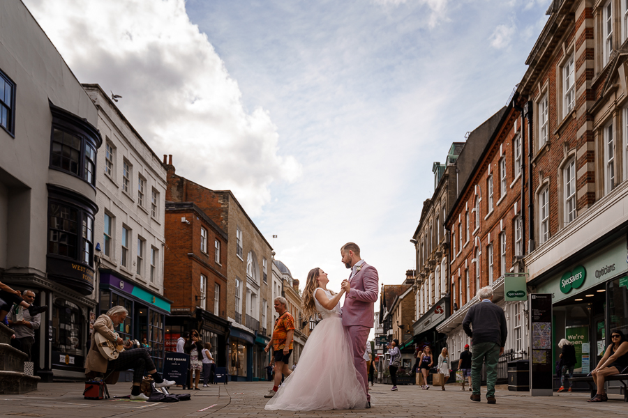 A loved-up Winchester city elopement - with adorable dogs! Photographer credit Katherine and her Camera (28)