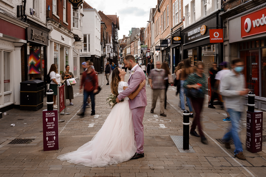 A loved-up Winchester city elopement - with adorable dogs! Photographer credit Katherine and her Camera (37)