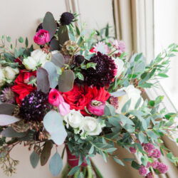Luscious reds and romance for a wintry wedding look, with Amanda Karen Photography