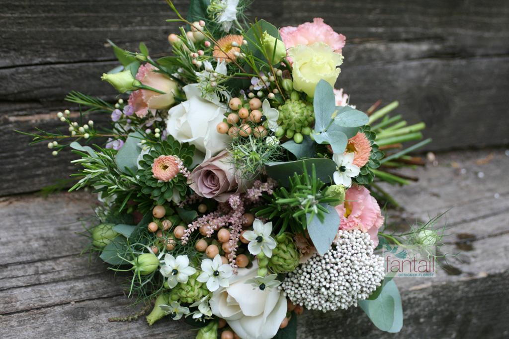 Country flower wedding bouquet by Fantail Designer Florist