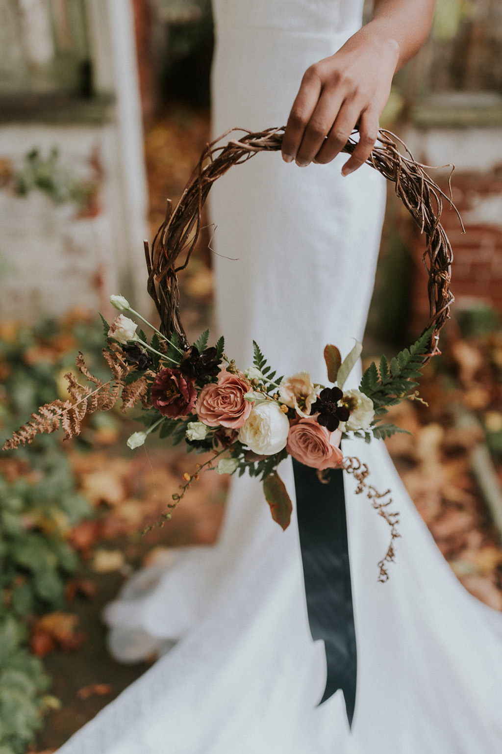 twisted willow bridal hoop by Fantail Designer Florist in autumnal colours