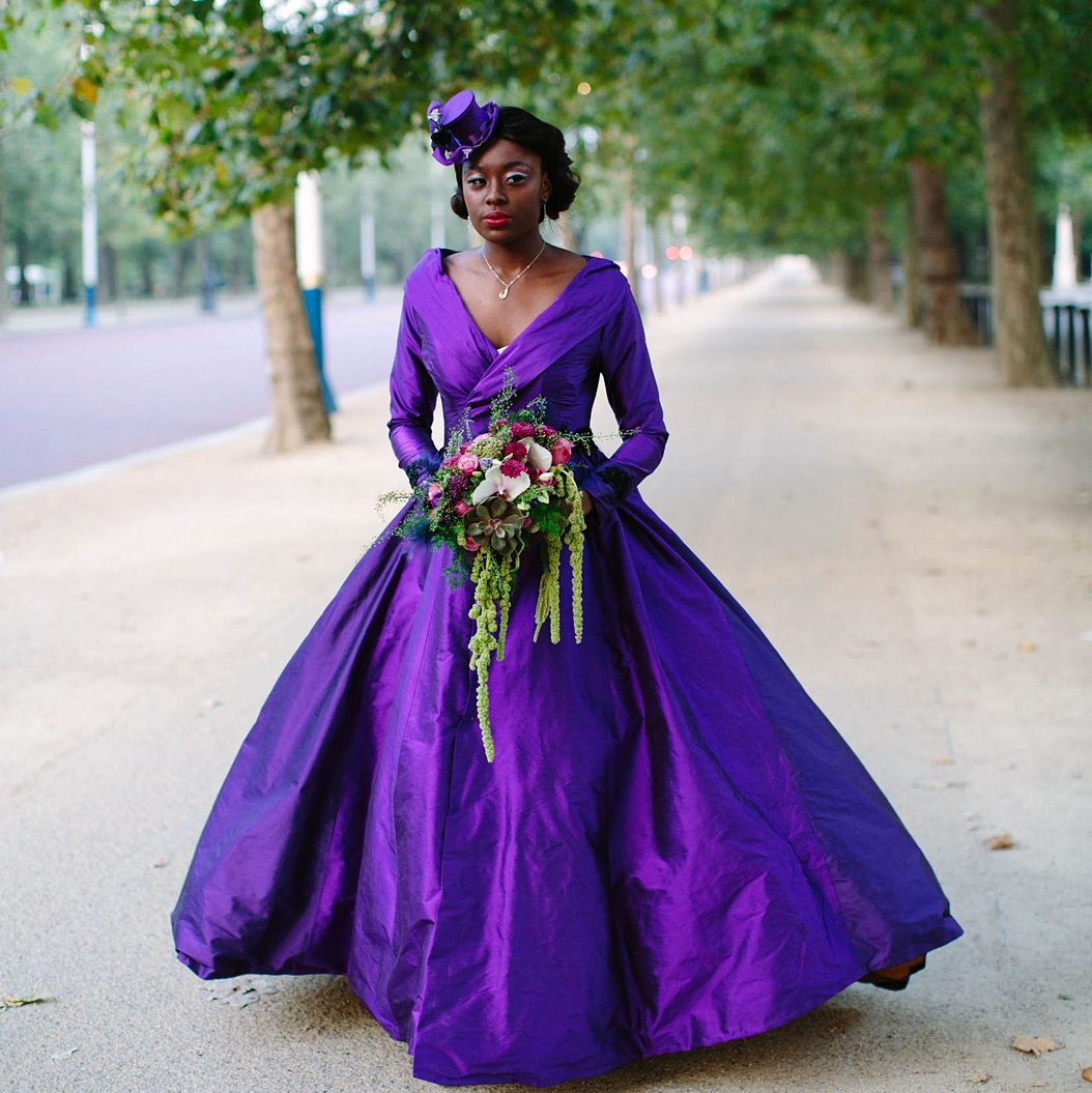 Couture wedding dress in cadbury purple silk with portrait collar by Felicity Westmacott. Image by Jessica Jill Photo