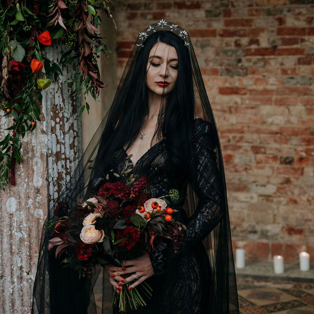 Gothic lace black wedding dress for alterntave brides by Felicity Westmacott. Image credit Lex Fleming Photo