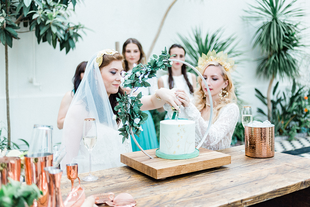 botanical styled wedding shoot with two brides captured by Queen Bea Photography