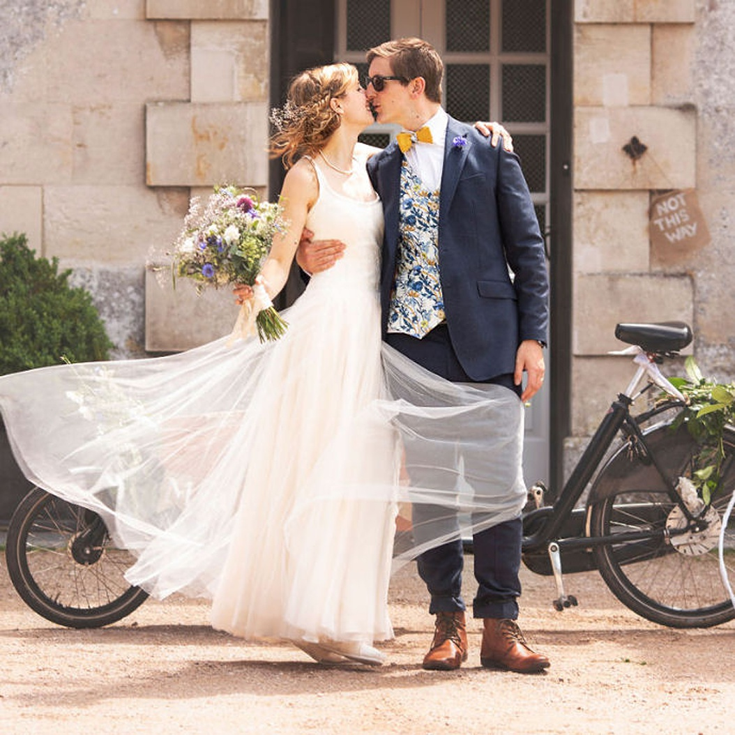 Understaded and realxed blush tulle and silk bespoke wedding dress by Felicity Westmacott. Image credit Lasting Impressions by Lucy