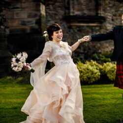 A dreamy showstopping dress for Richelle and Tom's Edinburgh wedding, with Lina and Tom Photography