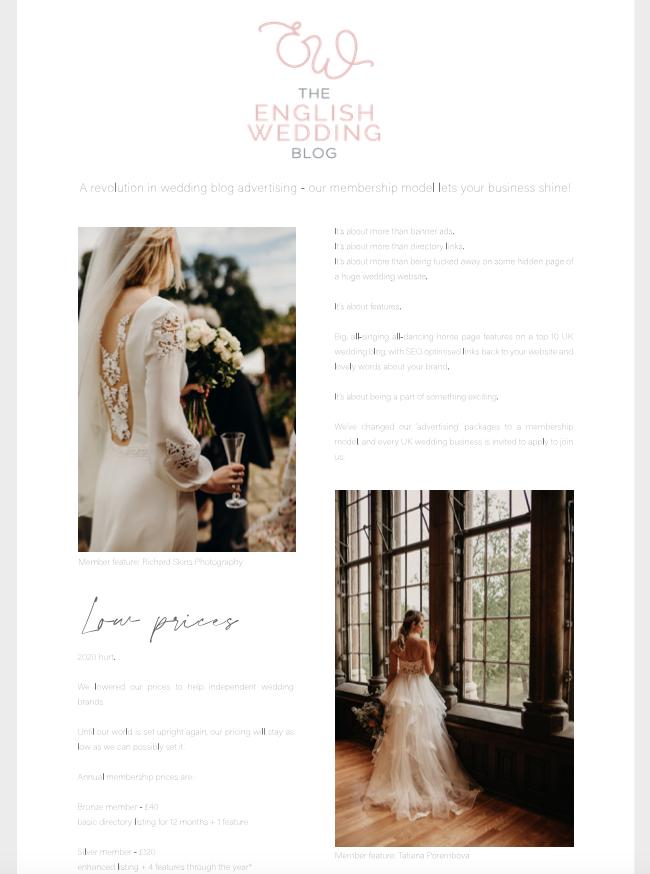 Thumbnail of the English Wedding blog media pack