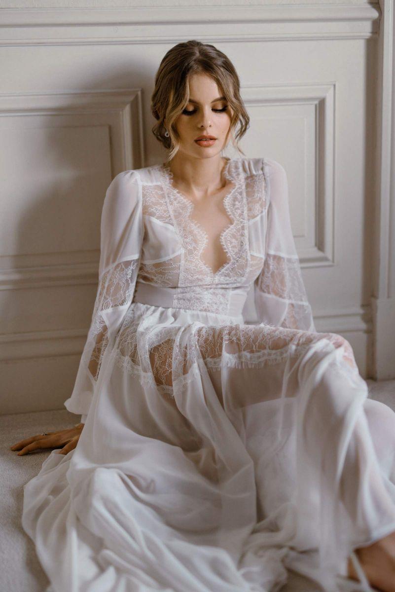 French lace and chiffon bridal dress by Karin Rom