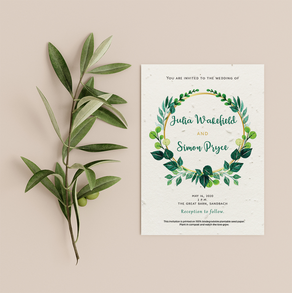 Foliage wreath wedding invitation by Little Green Wedding