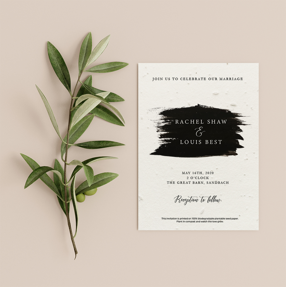 Paintbrush invitation by Little Green Wedding with black brushed text block