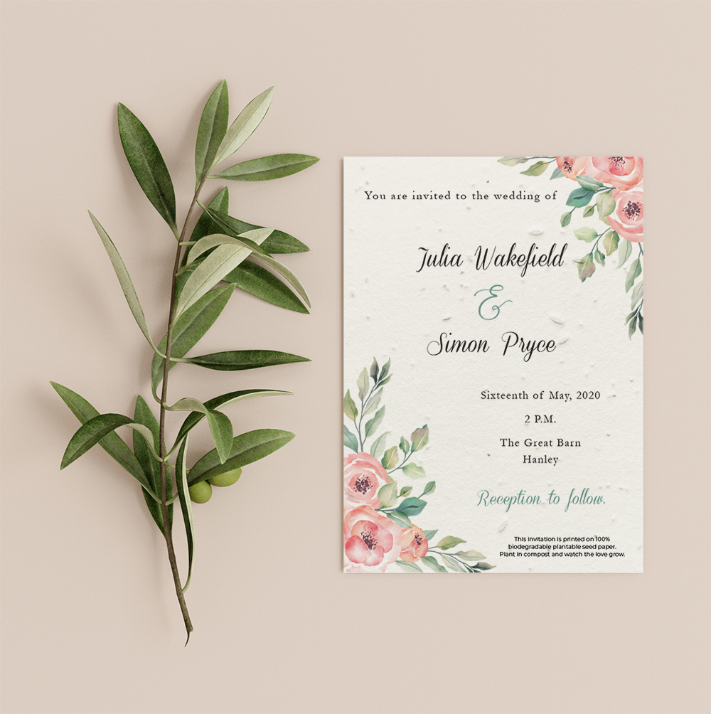 Roses invitation by Little Green Wedding with pink floral illustration in top right and bottom left corners