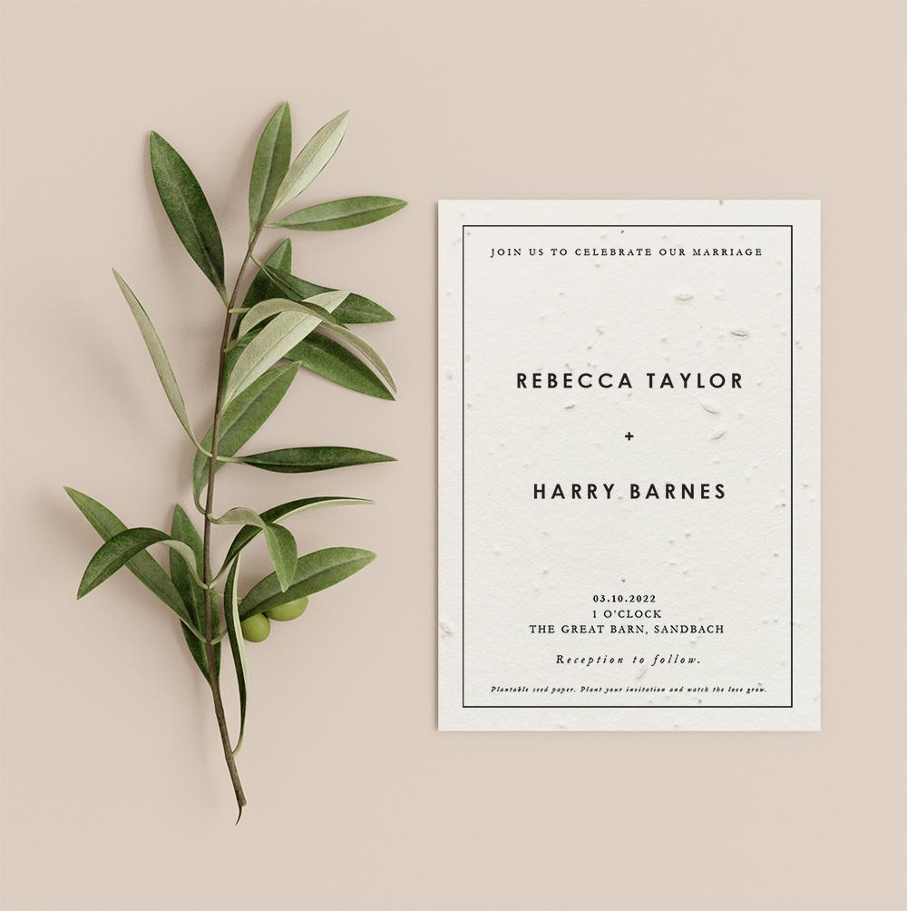 Square design wedding invitation by Little Green Wedding - rectangular card with border around text