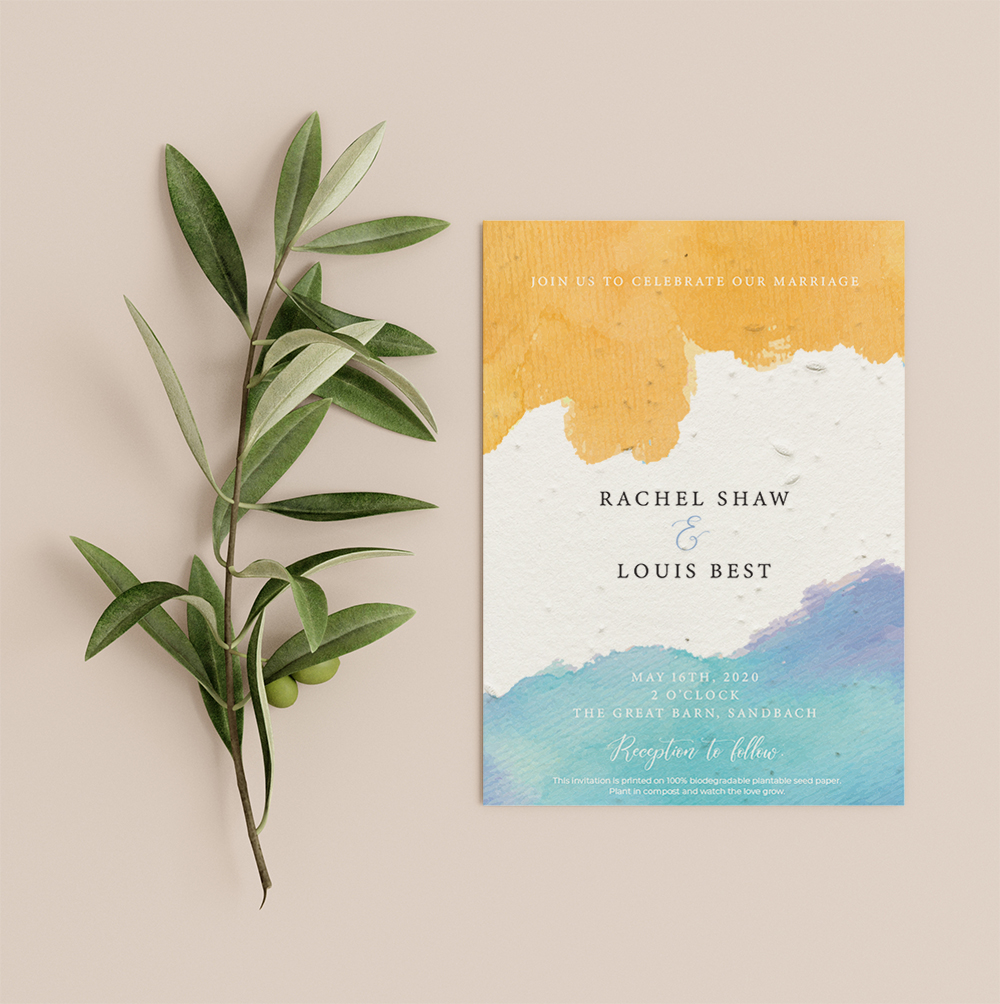 SunSea invitation by Little Green Wedding with modern design yellow rustic block at top and ombre blue print at bottom