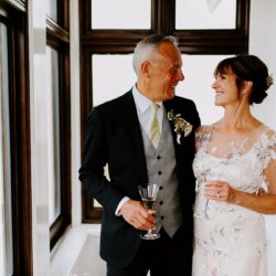 A stunning Felicity Westmacott dress for Wendy & Nigel's beach wedding, with Thomas Frost Photography
