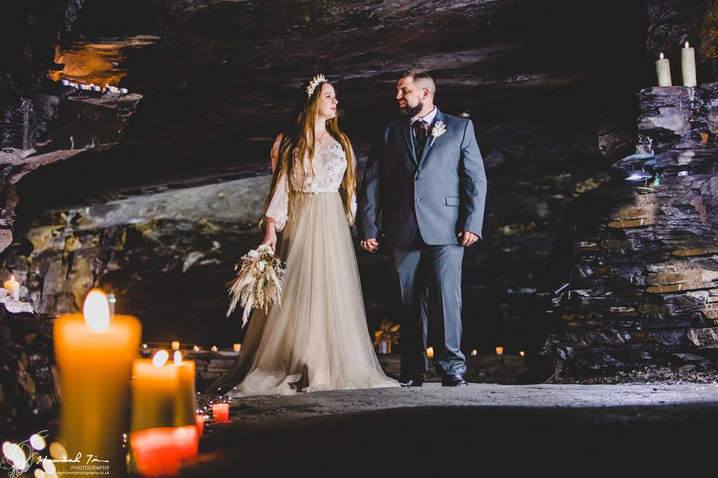 Carnglaze Cave wedding photographer Hannah Timm