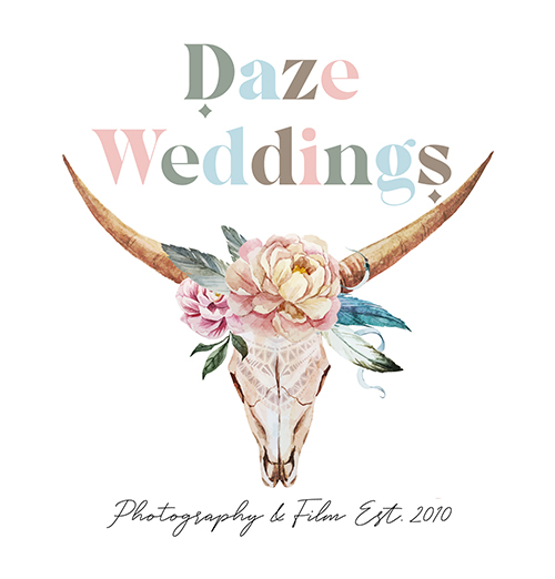 Daze Photography logo - deer skull with floral crown and feathers and antlers