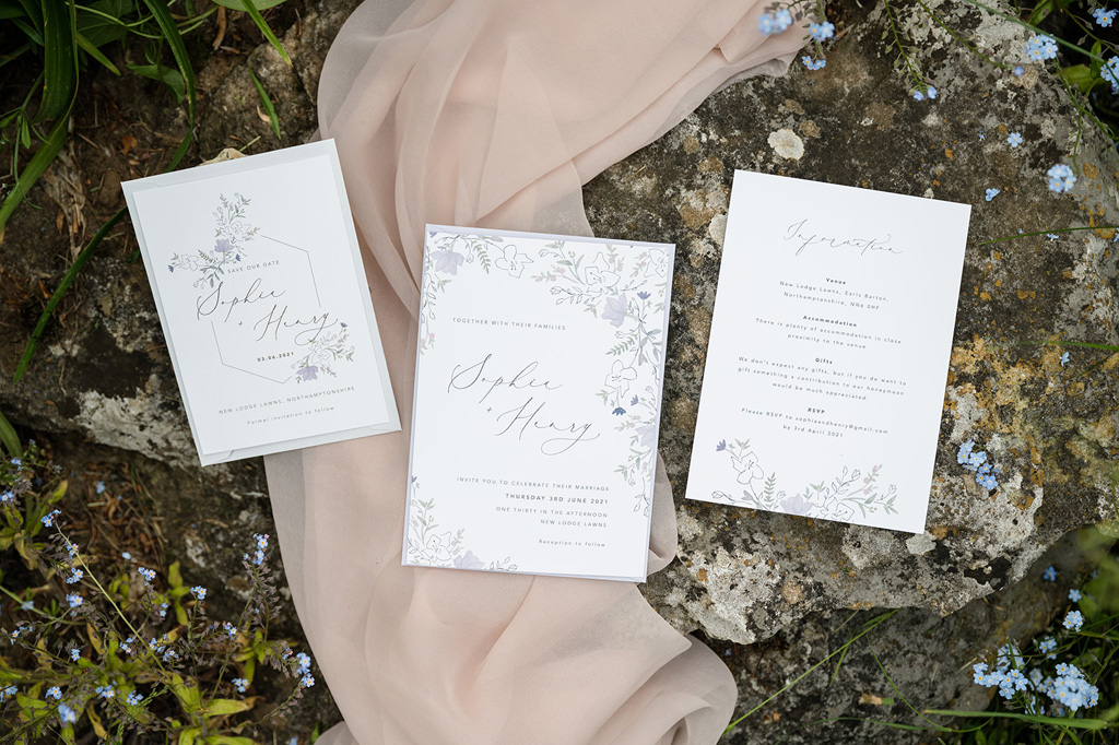 pretty wedding stationery with simple styling for a woodland wedding