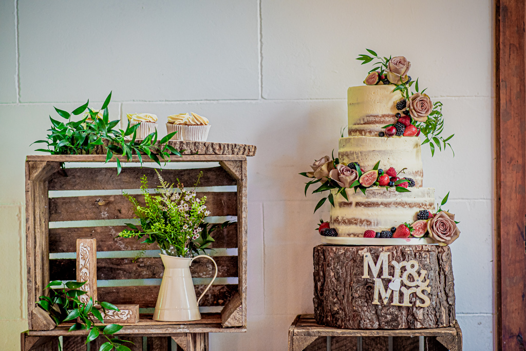 Photo of Lorna and Keanu's wedding cake at Stradsett Hall. Photography by Damien Vickers.