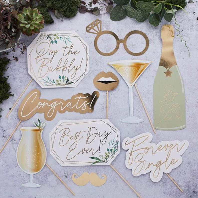Wedding photo booth props - set of 10 cute and modern props are in white & gold foiled colours with sticks