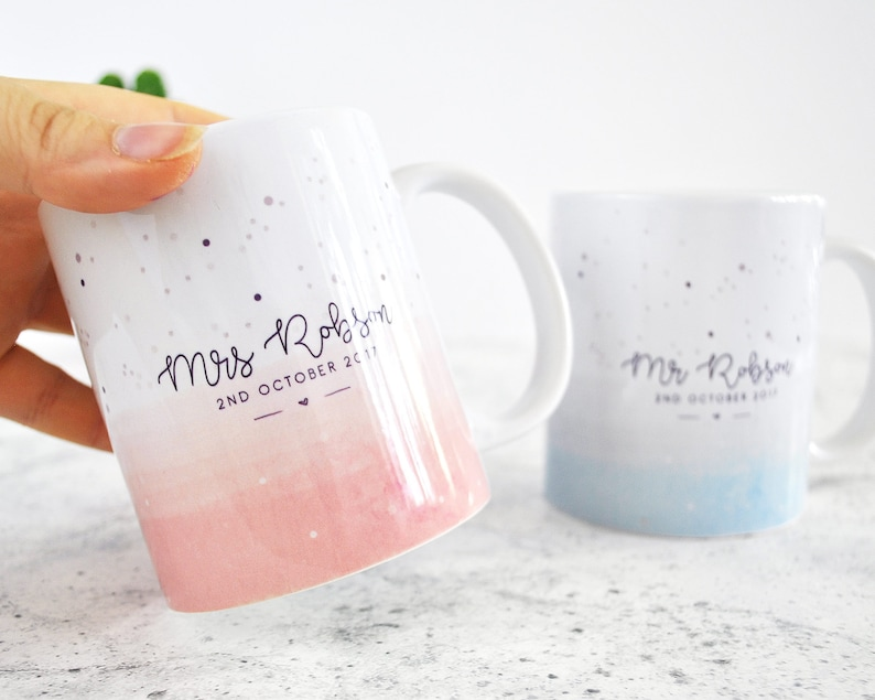 Mr & Mrs Wedding Mug set in blush pink and pastel blue by BabyBluuCo